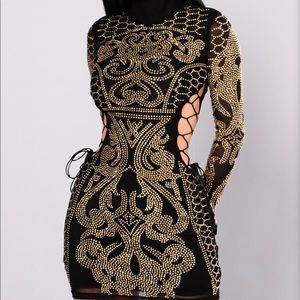 Black and Gold Rhinestone Party Dress